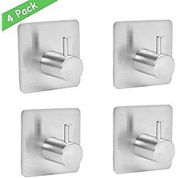 wemk 4 piezas Gancho adhesiva, 8 kg Max – Gancho de pared para cuarto de baño de acero inoxidable, Puerta Toalla con 3 m Scotch adhesiva, familia y oficina, auto-adhesif (2Pack)