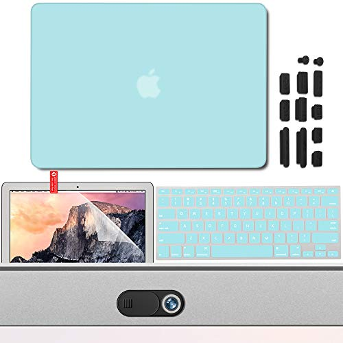 GMYLE Schutzhülle für MacBook Air 27,9 cm (11 Zoll), Magnetverschluss, Mikrofaser-Innenfutter, ultradünn, Kunstleder, Rot türkis 5 in 1 Teal Protection Kit MacBook Air 13