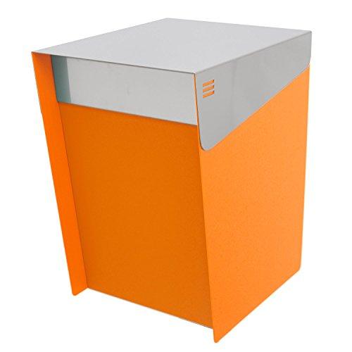 Katanabox Mega Briefkasten, Edelstahl, mit Schloss und Schlüssel, extra groß, rostfrei, für modernes Haus, Wohnung, Landhausstil, 40,6 x 27,9 x 33 cm Orange