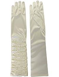 Elegant Satin Ruched Elbow Long Evening Gothic Wedding Gloves