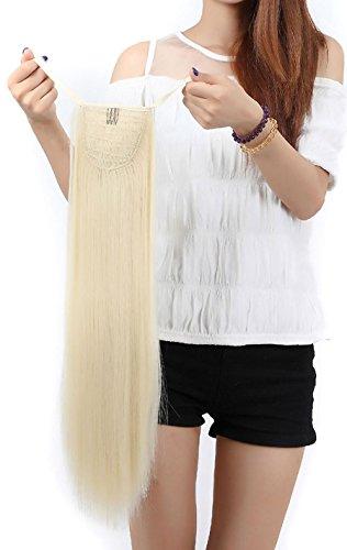S-noilite, extension per capelli clip in, treccia, coda di cavallo, prolunga, 55 cm, liscia (biondo decolorato)