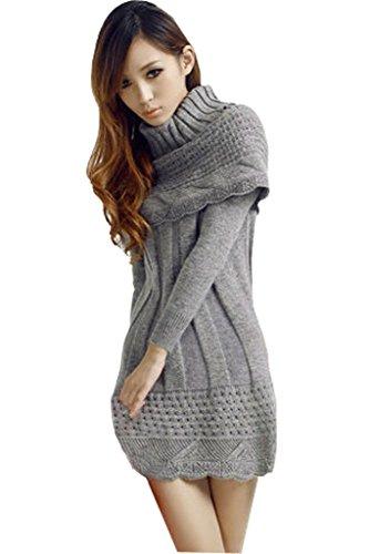 Minetom Femme Robe en tricot Pull Robe Chandail à Manche Longue l'hiver au Chaud Haut Top Gris
