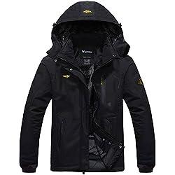 Wantdo Femme Anorak Veste de Ski Imperméable Doublure en Polaire Coupe-Vent à Capuche Amovible Coupe-Pluie Noir FR:XL (Taille Fabricant:L)