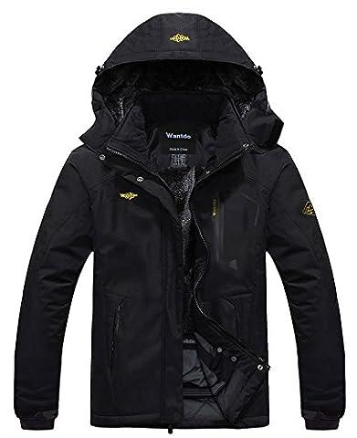 Wantdo Women's Waterproof Mountain Jacket Fleece Windproof Ski Jacket Black Medium