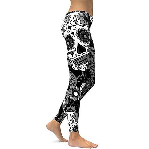 MAYOGO Damen Camouflage Schädel Druck Leggings Lange Yoga Hose Hüfte Push up Strumpfhosen Shapewear Skinny Hose Yogahose Gym Sport Hosen ()