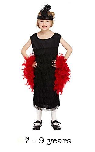 (Kinder 1920s Flapper Mädchen Kostüm Verkleidung 7 - 9 yrs (mit Feder Boa))