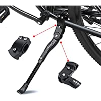 """ANWONE Caballete Lateral Ajustable, Soporte de Bicicleta de aleación Ajustable MTB con pie de Goma Antideslizante, Soporte de pie de aleación Universal para Bicicleta 22""""- 28"""" (Negro)"""
