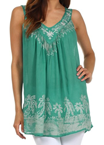 Sakkas 197 Oasis Gauzy Crepe Ärmellose Bluse für Damen - Minze/Weiß - One Size - Minze Kleid Frauen Shirt