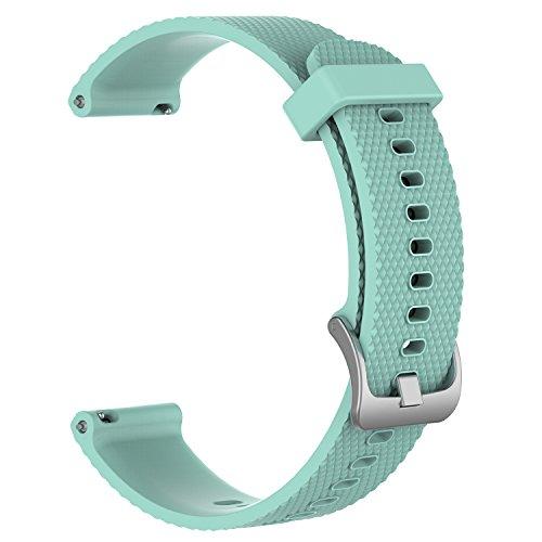 Ersatzbänder für Garmin Vivoactive 3/Vivomove/Vivomove HR Fitness Uhr 20mm verstellbares Weiches Silikonband Schnellspanner Zubehör Armband (Teal, S) (Teal Garmin-uhr)