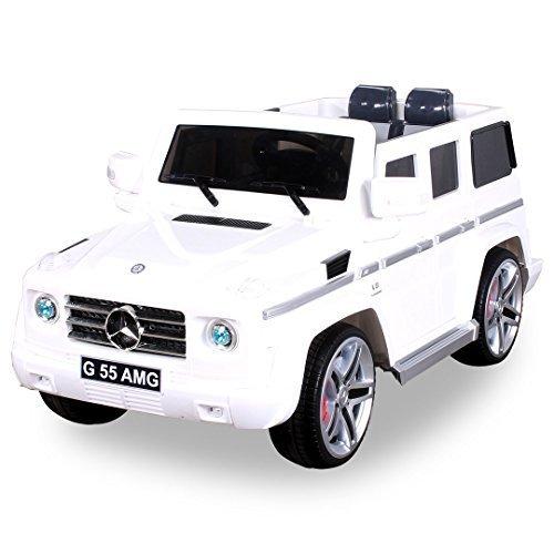 Actionbikes Motors Original MercedesBenz AMG G55 High Door - Leder Sitz Jeep Lizenz Elektro Kinderauto Kinderfahrzeug Spielzeug (weiß)