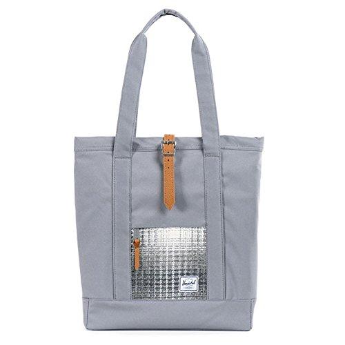 Herschel Market Tote Sporttasche, Schwarz/Tan Leather Tote Grey / Grey Knit