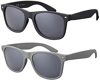 Originale La Optica UV400 Occhiali da Sole Specchiata Stile Wayfarer - Confezione Doppia 1 x Gommata Nero, 1 x Gommata Grigio (Lenti: Grigio)