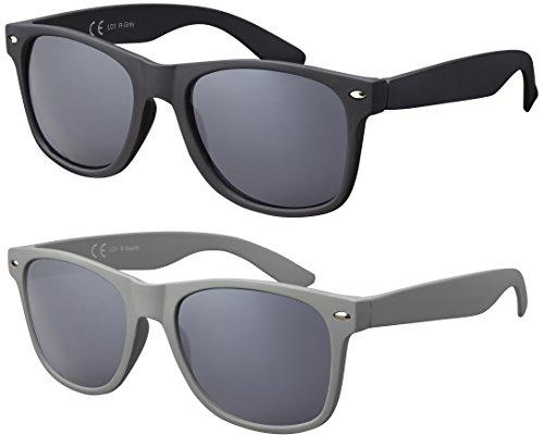Original La Optica Verspiegelte UV400 Unisex Sonnenbrille Wayfarer Art - Farben, Einzel-/Doppelpacks (Doppelpack Rubber (Rahmen: 1 x Schwarz, 1 x Stealth Grau)) (Aviator Sonnenbrillen, 53mm)
