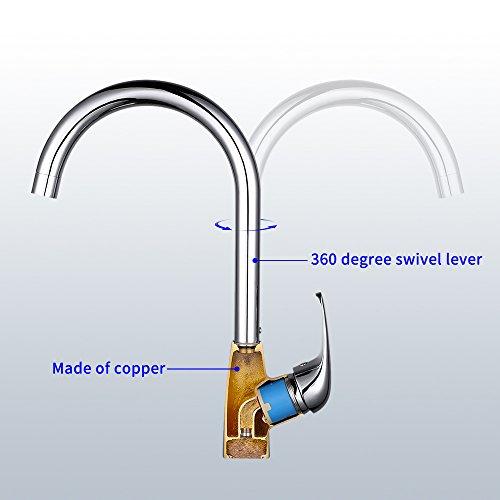 Desfau 360 drehbar Wasserhahn Küche Armatur Chrom Küchenarmatur Mischbatterie Spültischarmatur Spülbecken Küchenmischer Wasserkran Einhandmischer - 3