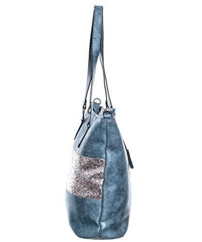 04d604e78c5a7 ... Damen Handtasche Shopper schultertasche umhängetasche streifen Stern  Glitzer Cut out Vintage look metallic jeansblau 38x32x12 cm ...