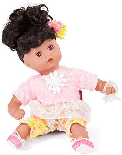 Götz 1720819 Muffin Daisy Do Puppe - 33 cm große Babypuppe mit krausen schwarzen Haaren und braunen Schlafaugen - Weichkörperpuppe in 7-teiligen Set