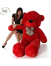 Frantic Soft Plush Fabric Cherry Red Teddy Bear with Neck Bow – 3 Feet (90 cm)