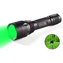 UltraFire Linterna Verde Linterna LED 650 Lumen Linterna Caza H-G3, 520-535 nm de longitud de onda Profesional Linterna de luz verde Linterna Tactica