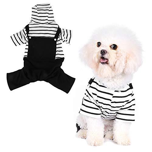 Pssopp Haustier Hund Trägerhose Hund Gestreifte Jacke Trägerhose Haustier Welpe Katze Weiß Gestreifte Trägerhose Hoodies Einteilige Jacke Kostüme - Weiße Katze Kostüm