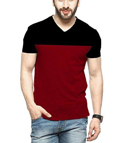 Veirdo Men's Cotton T-Shirt Black Maroon Casual T-Shirt