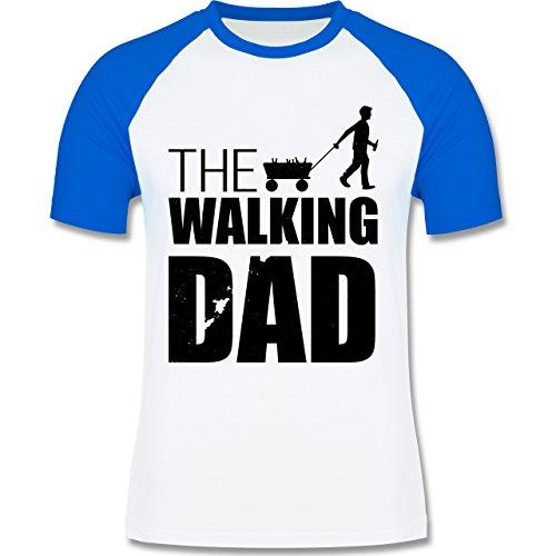 Shirtracer Vatertag - The Walking Dad - Vatertag - Herren Baseball Shirt Weiß/Royalblau