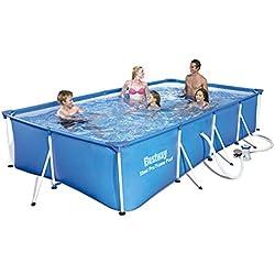 Bestway FAC56424 Piscine Splash Frame Pool + FAC5700.0L, Bleu, 400x211x81 cm