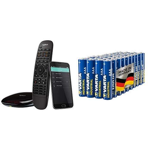 Logitech HarmonyCompanionAll-in-one-Fernbedienung (geeignet für Smart-Home und Unterhaltungsgeräte schwarz & Varta Industrial Batterie AAA Micro Alkaline Batterien LR03 - 40er Pack, Made in Germany (Remote Control Logitech Wireless)