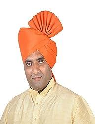eKolhapuri Traditional Handstitched Ready To Wear Plain Orange Polyester Pheta (Turban Safa) for Men
