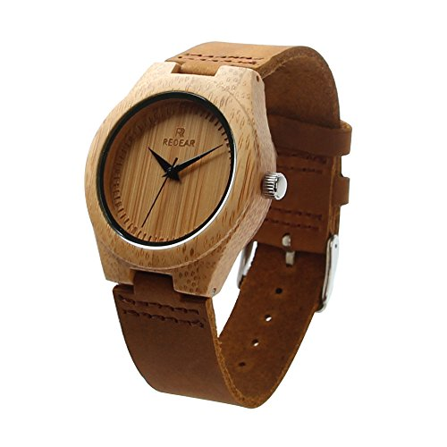 StillCool Uhr Armbanduhr Bambus Holz Uhr Naturholz Echtes Leder Für Frauen Männer Paar (Dame)