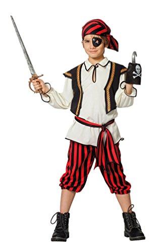 Karneval-Klamotten Piraten-Kostüm Kinder Jungen-Kostüm Pirat Creme-schwarz-rot Oberteil Hose inkl. Piraten-Kopftuch Größe 140