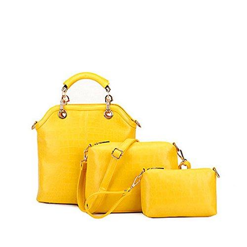 Einzelne Umhängetasche Handtasche Neue Dreiteilige Krokodil gelb