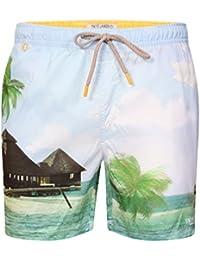 Mens Tokyo Laundry Mauna Tropical Island Print Swim Shorts And Free Flip Flops