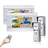 Wlan Video Türklingel Gegensprechanlage Einstiegssystem-Kits mit 2 Monitor 2 Kamera, Nachtsicht, Fernbedienung Türöffner und App von Deatti