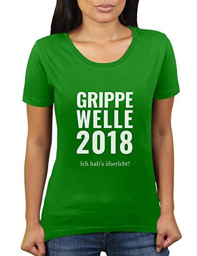 Grippe Welle 2018 - Ich Habe überlebt - Damen T-Shirt von KaterLikoli, Gr. 2XL, Apple Green -