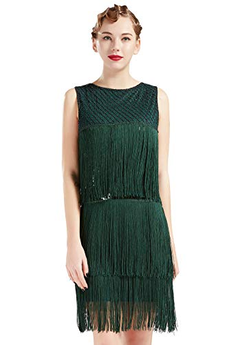 ArtiDeco 1920s Charleston Kleid Damen Knielang Cocotail Party Kleid 20er Jahre Flapper Damen Gatsby Kostüm Kleid (Dunkel Grün, M / UK12-14 / EU 40-42) (Kostüme 20er Jahre)