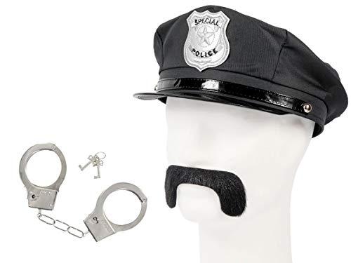 Set di Travestimento da Poliziotto | Nero | KV-119 | 3 Pezzi | Cappello, Baffi, Manette con Chiavi | per Carnevale | Halloween | Festa a Tema | Adulti | Uomo | Donna