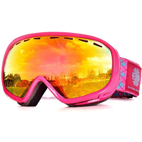 Snowledge Skibrille Kinder, Ski Goggles Kids Snowboard Brille Sphärische Doppelscheibe 100{865708a03b97a005ad1bc3483c87ca2f45d1e24813256c733571c116f37026ce} UV-Schutzbrille Anti-Beschlag 3-Lagige Schaum für Kinder von 6-13 Jahren(Rot-Orange)