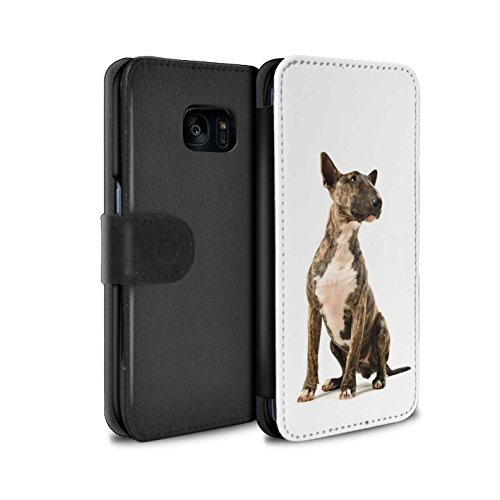STUFF4 PU-Leder Hülle/Case/Tasche/Cover für Samsung Galaxy S7 Edge/G935 / Bull Terrier Muster / Hund/Hunde Kollektion (Bull Terrier Phone Case)