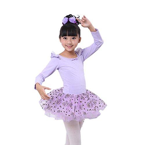Bequemes Trikotanzug Ballett Langarm Tutu Rock Ballerina Tanz Kostüme, C