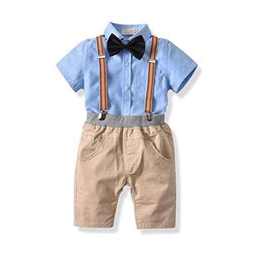 Elecenty 2pcs Stück Bekleidungssets Junge,Outfit Set Babyanzug Set Gentleman Krawatte T-Shirt Blusen +Bib Pants Hose Outfit Tägliche Jungenkleidung (80, Blau 2)