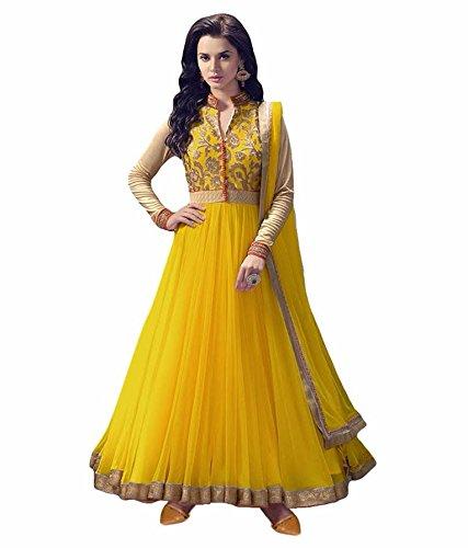 Home Fashion Women\'s Net Salwar Suit (Hf1011-4_Yellow_Free Size, Semi-Stitched )