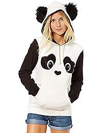 Femme Sweat Capuche Panda Cosplay Kawaii Sweatshirt à Poche Hoodie Pullover Animaux Manche Longue Pull a Oreille Blouse Top Automne Hiver - Landove
