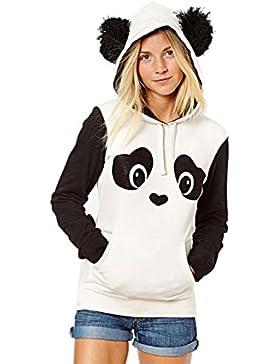 Felpa con Cappuccio Donna Ragazze Autunno Primavera Panda Stampa Magliette Manica Lunga Hoodie Hoody Tumblr Top...