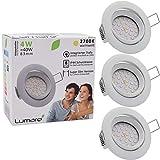 Lumare LED Einbauspot Extra Flach 4W 230V IP44 3er Set (Leuchtmittel austauschbar) 400lm schwenkbar warmweiss für Feuchtraum und Wohnraum Mini Einbaustrahler Deckenspot weiss rund