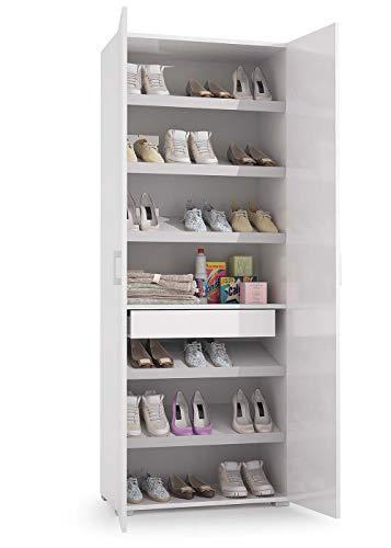 Mobile armadio 2 ante camera da letto scarpiera scaffale portascarpe, 1 cassetto 6 ripiani e dispositivo fermascarpe, 21 paia di scarpe, full made in italy, non di importazione, 72x37x195 cm, bianco