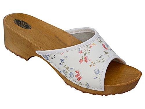 BeComfy Damen Clogs Holzschuhe Leder Holz Pantoletten mit Absatz Sandalen Bunte Farben Modell VK10 (41, Bunte Blumen)