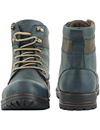 Affican Men's Blue Color Leather Boots - B07C2XHMVG