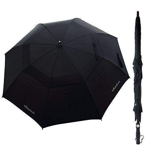 """Preisvergleich Produktbild Regenschirm XXL, DrizzleDuck Groß Windundurchlässiger 55"""" Durchmesser Regenschirme Taschenschirm Stockshirm [Belüfteter Bezug], Automatik Öffnen + Schließen, Herren Stockschirm - Schwarz"""