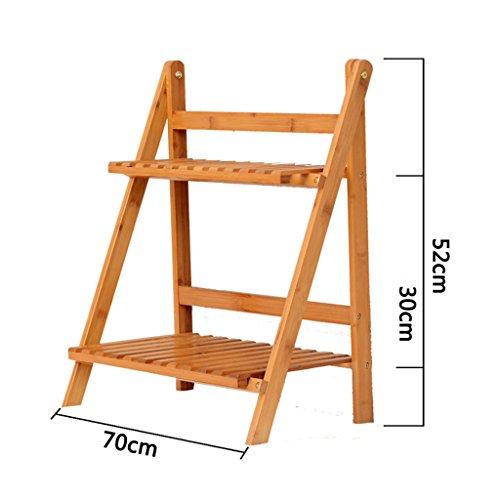 ASL Racks de fleurs en bambou, mode Belle qualité Salon de balcons Terrasse en bois massif Porte-grenier Disposition à plusieurs étages Protection intérieure durable et durable 50/60/70/80/90 / 100cm * 52cm qualité ( taille : 70cm )