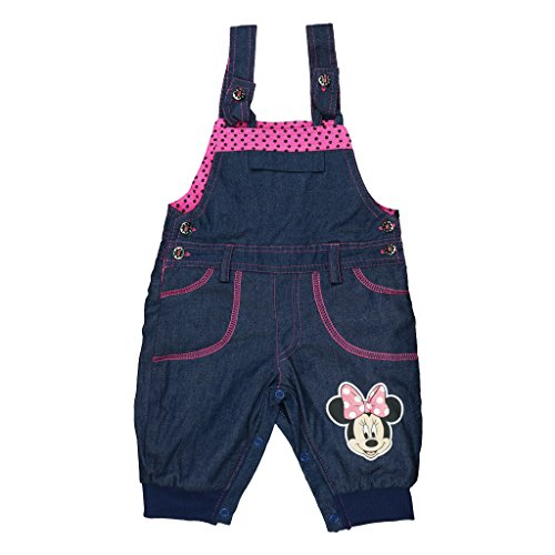 Mädchen BABY-HOSE / JEANS-LATZHOSE GEFÜTTERT Minnie Mouse mit Motiv, GRÖSSE 62, 68, 74, 80, 86, 92, 98, SPIEL-HOSE mit Knöpfen, als Freizeit-Hose, Jogging-Hose, weich und warm Color Rosa, Size 92 (Windel-taschen Lila Mädchen)